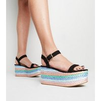 Black Suedette Multi Plait Flatform Sandals New Look