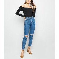 black ribbed long sleeve bardot bodysuit new look