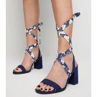 Wide Fit Blue Floral Ankle Tie Block Heels New Look