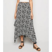 White Zebra Print Hanky Hem Pleated Midi Skirt New Look