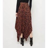 Brown Zebra Print Hanky Hem Pleated Midi Skirt New Look