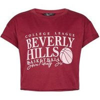 Girls Burgundy Beverly Hills Basketball Slogan T-Shirt New Look