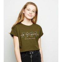 Girls Khaki 1995 Chain Slogan T-Shirt New Look