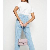 Lilac Faux Croc Chain Shoulder Bag New Look
