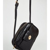Black Faux Snake Camera Bag New Look