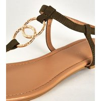 Khaki Hammered Ring Strap Flat Sandals New Look