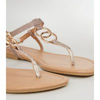 Rose Gold Glitter Strap Ring Flat Sandals New Look