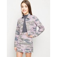 Girls Lilac Camo Ripped Denim Skirt New Look