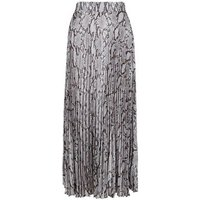Curves Grey Snake Print Pleated Satin Midi Skirt New Look