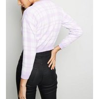 Cameo Rose Lilac Check Cropped Jumper New Look