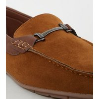 Tan Suedette Bar Trim Loafers New Look