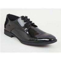 Black Patent Lace-Up Shoes New Look