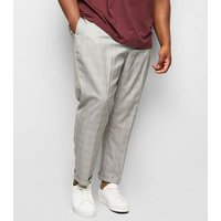 Plus Size Pale Grey Grid Check Print Trousers New Look