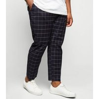 Plus Size Navy Grid Check Skinny Crop Trousers New Look