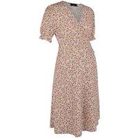 Maternity Pink Floral Frill Hem Wrap Dress New Look