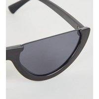 Black Rimless Flat Top Cat Eye Sunglasses New Look