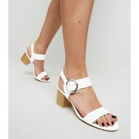 White Comfort Flex Leather-Look Sandals New Look