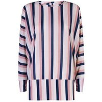 Blue Vanilla Multicoloured Stripe Batwing Top New Look
