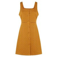 Orange Check Button Front Pinafore Dress New Look