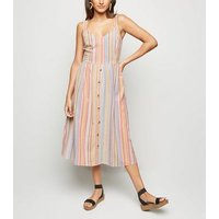 Pink Multi Stripe Button Front Midi Dress New Look
