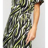 Tall Black Neon Zebra Print Wrap Dress New Look