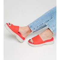 Coral Neon Chunky Sole Sporty Footbed Sliders New Look