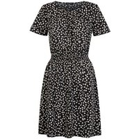 Tall-Black-Ditsy-Floral-Stretch-Waist-Dress-New-Look