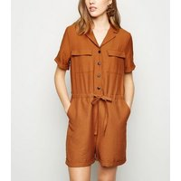 Rust Revere Collar Utility Playsuit New Look