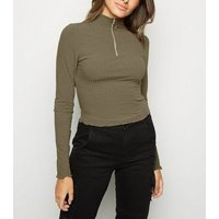 Khaki Funnel Neck Frill Ring Zip Top New Look
