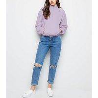 Lilac Half Zip Pocket Front Sweatshirt New Look