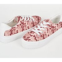 Pink Camo Print Lace Up Flatform Trainers New Look