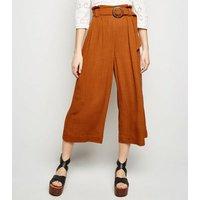 Rust Linen Look Crop Trousers New Look