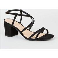 Wide Fit Black Suedette Strappy Heel Sandals New Look Vegan