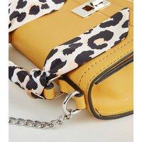 Mustard Leopard Print Scarf Handle Bag New Look