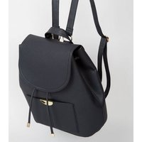 Black Leather-Look Drawstring Front Backpack New Look