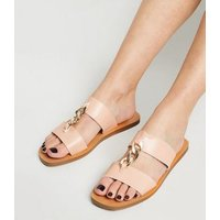 Wide Fit Cream Chain Strap Sliders New Look