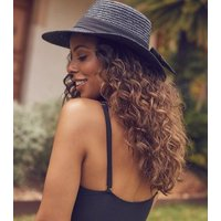 Black Woven Straw Boater Hat New Look