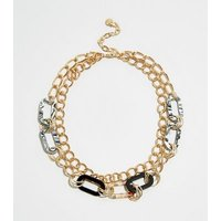 WANTED Gold Resin Oval Link Layered Chain Necklace New Look