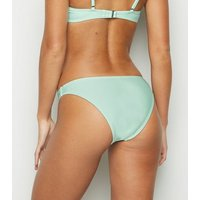 Mint Green Frill Crop Bikini Top New Look