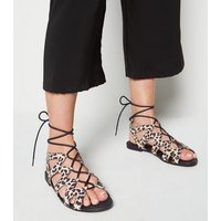 Wide Fit Stone Leopard Print Lace Up Sandals New Look