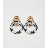 WANTED Gold Drop Link Resin Earrings New Look