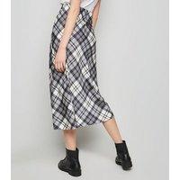 White Check Print Midi Skirt New Look