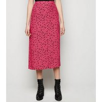 Pink Ditsy Floral Button Front Midi Skirt New Look