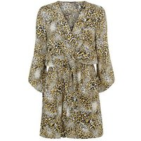 AX Paris Yellow Leopard Print Wrap Dress New Look