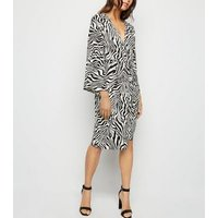 AX Paris Black Zebra Print Batwing Midi Dress New Look