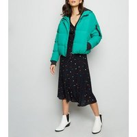 Blue Vanilla Green Hooded Cropped Puffer Jacket New Look