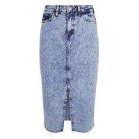 Blue Acid Wash Fray Hem Denim Midi Skirt New Look
