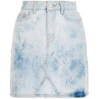 Pale Blue Tie Dye Denim Mom Skirt New Look