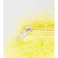 Yellow Feathers Chain Shoulder Bag New Look