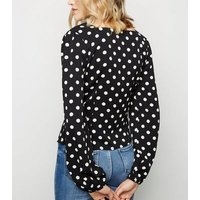 Tokyo Doll Black Spot Print Button Front Top New Look